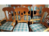 A set of 6 solid pine heavy, quality chairs.