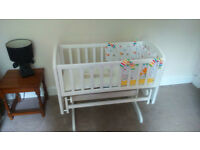 Beautiful white wooden John Lewis gliding crib and extras £50