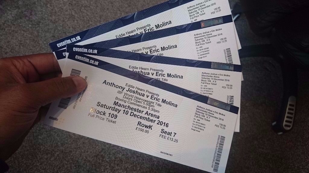 *FACE VALUE* 4nr Tickets for the Anthony Joshua vs Eric Molina
