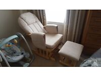 Glider nursing chair with stool