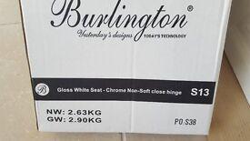 WC Seat - Burlington Gloss White with Chrome Hinge