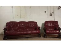 3 Seater Red Leather Sofa & Chair With Wood/Drawers - DELIVERY AVAILABLE