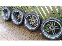 4 x 114 17 Gun metal grey Alloys + Tyres