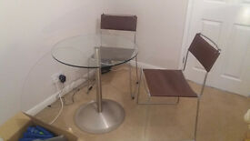 Glass topped bistro style table & 2 leather chairs