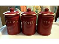 Set of 3 coffee, tea & sugar jars