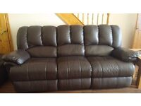 3 seater double reclining leather settee