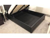 ***BROWN FAUX LEATHER DOUBLE STORAGE BED + MATTRESS***