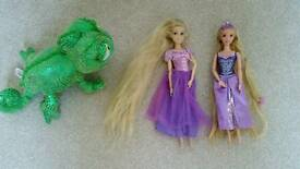 Disney store tangled rapunzel doll glitter hair & soft pascal toy & mattel doll style braided hair