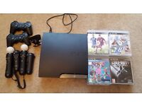Fantastic condition PS3 Slim for sale with 2 controllers, playstation move, 2 controls and 10+ games