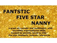 LONG TERM NANNY available from September (glowing references, qualifications, 18 years of childcare)