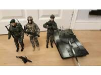 3 soldiers with weapons plus tank
