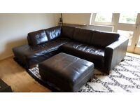 Brown leather l shaped couch sofa with ottoman