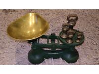 Cast iron kitchen scales and brass weights