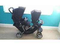 GRACO Double Buggy with Rain Cover and Umbrella