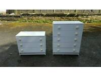 Pair of white chest of drawers x2