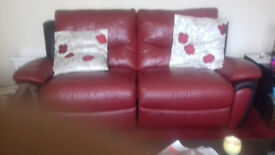 2 seater and 3 seater red leather reclining settees