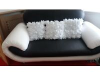 Stunning one two seater sofa black white leather 2 weeks old