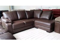 NEW Graded Brown Leather Left Hand Corner Sofa Suite FREE LOCAL DELIVERY