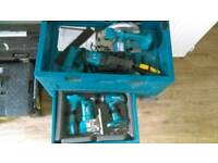 Makita battery tool set with amazing tool chest on wheels. Like dewalt, Bosch. Impact driver, drill