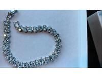 9CT WHITE GOLD 3 ROW SWAROVSKI BRACELET