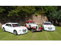 beauford bridal car ,white Chrysler wedding cars , grooms/maids 8 passenger minibus