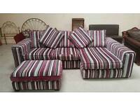 Large stunning corner sofa and pouffee can deliver 07808222995