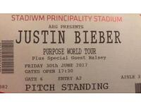 Two Justin Bieber standing tickets