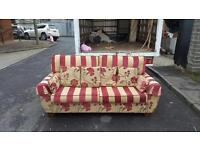 Very nice 3 seater sofa in striped and floral fabric £75