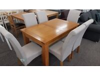Ex Display Julian Bowen Astoria Extending Oak Dining Table & 6 Rio Dining Chairs **Can Deliver**