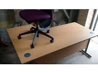 Large corner desk and swivel chair