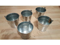 Set of 5 Vintage Metal Galvanized Buckets / Flower Pots / Planters