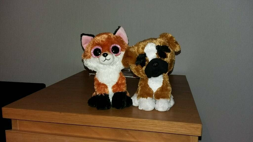 2 Ty Beanie Boos, Fox and Boxer Dog