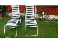 Garden chairs with footstools grey and white