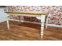 Turned leg Extendable Rustic Farmhouse Dining Kitchen Table - 5.5ft-8.5ft