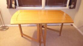 Solid, Oak Veneered Foldaway Dining Table
