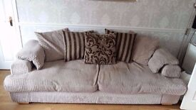 ***** Reduced ***** Large Beige/Cream 3/4 Seater Sofa Scatter Back