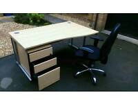 Office Desk & Drawer & chairs Set in mmaculate condition