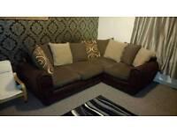 Corner sofa with matching pouffe