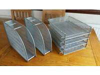 silver wire office filing trays