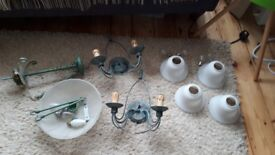 Two '70s Christopher Wray verdigris wall lights and central pendant with bulbs and fittings
