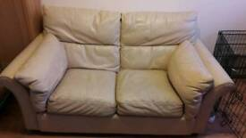 Cream leather sofa + free delivery