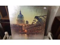 Large Print of St Paul's Cathedral and Millenium Bridge, London with Silver Cross-hatching
