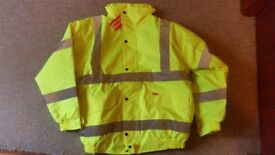 Fluorescent yellow high visibility waterproof padded work jacket