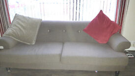 2 and 3 seater Sofa with cushions included. Brown in colour excellant condition, smoke free house