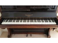 Upright piano Morton Bros of London good playing order plus stool.