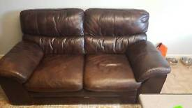 Brown leather 2 seat settee arm chair and pouffee