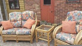 Cane conservatory furniture 3 pieces