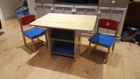 Childs table and chairs with under storage