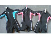 3 x childrens shortie wetsuits