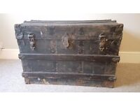 Very large vintage wooden trunk